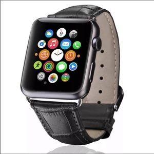 Accessories - BLACK CROCODILE LEATHER APPLE WATCH STRAP- watch